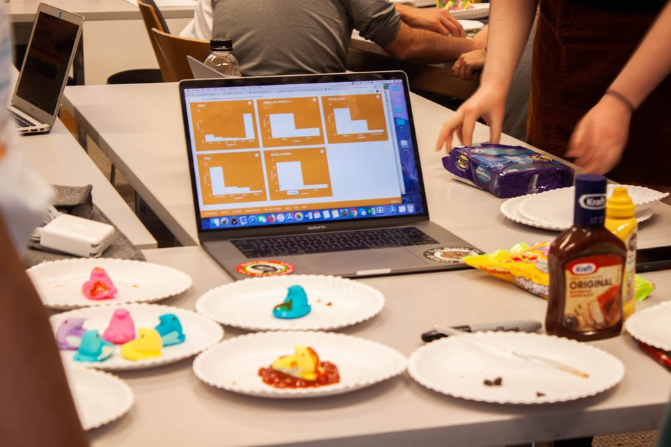 A laptop computer rests on a folding table surrounded by paper plates full of marshmallow peep candies.