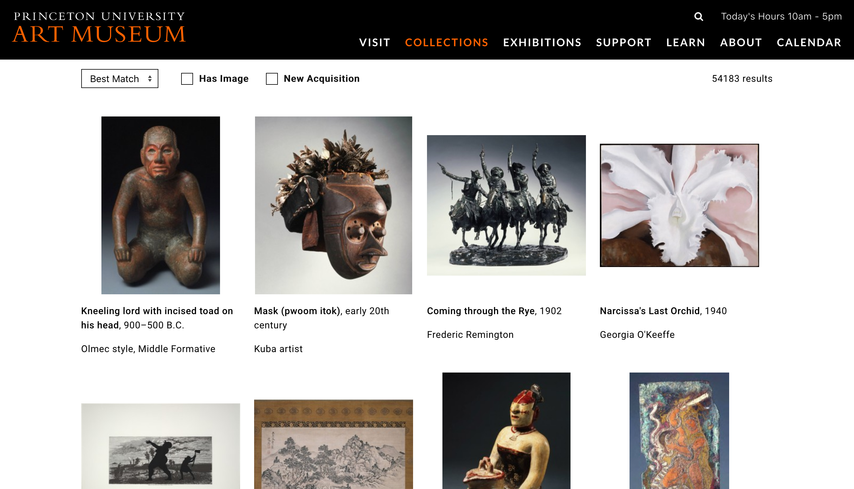 A screenshot of the collections search page from the Princeton Art Museum.